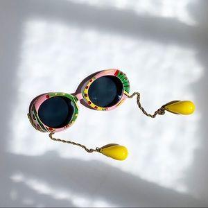 Vintage 60s Mod Tropical Dangle Chain Sunglasses